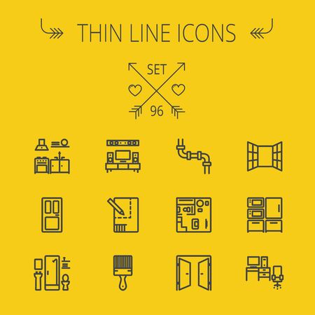interiors: Construction thin line icon set for web and mobile. Set includes- pipeline, structure, door, window, appliances, furnitures, interiors, paintbrush. Modern minimalistic flat design. Vector dark grey icon on yellow background