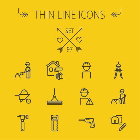 hammer drill: Construction thin line icon set for web and mobile. Set includes- compass, house sketch, man with hard hat, hammer drill, house paint, crane, hacksaw, hammer. Modern minimalistic flat design. Vector dark grey icon on yellow background