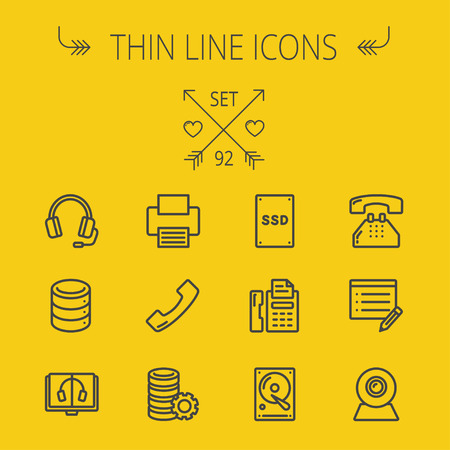 ssd: Technology thin line icon set for web and mobile. Set includes - headphones, server, printer, fax machine, telephone receiver, SSD, web cam. Modern minimalistic flat design. Vector dark grey icon on yellow background