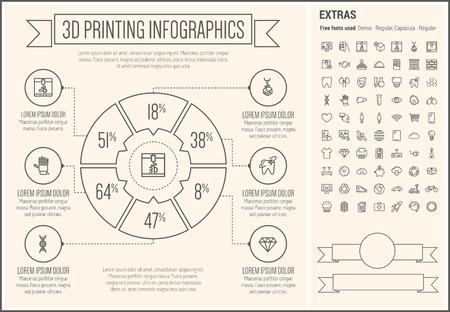faxger�t: Drei D Printing Infografik Vorlage und Elemente. Die Vorlage enth�lt die folgende Reihe von Icons - Herz, Zahn, Sparschwein, Faxger�t, Cupcakes, globale und mehr. Moderne minimalistische flache d�nne Linie Vektor-Design. Beige Hintergrund mit grauen Linie elem
