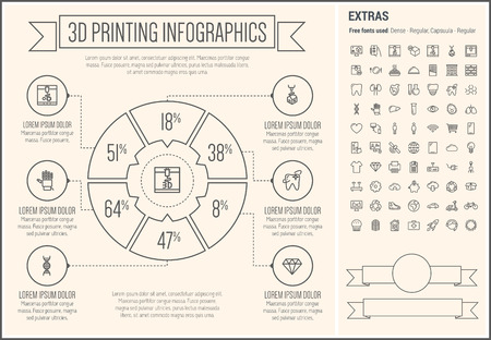 three d: Three D Printing infographic template and elements. The template includes the following set of icons - heart, tooth, piggy bank, fax machine, cupcakes, global and more. Modern minimalistic flat thin line vector design. Beige background with grey line elem Illustration