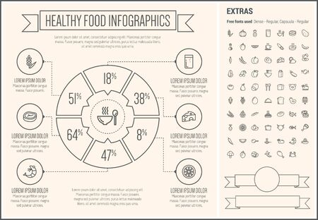 Healthy Food infographic template and elements. The template includes the following set of icons - pumpkin, pineapple, potato, tomato, onion, grape, banana, chicken, pork, cauliflower and more. Modern minimalistic flat thin line vector design. Beige backg Ilustração