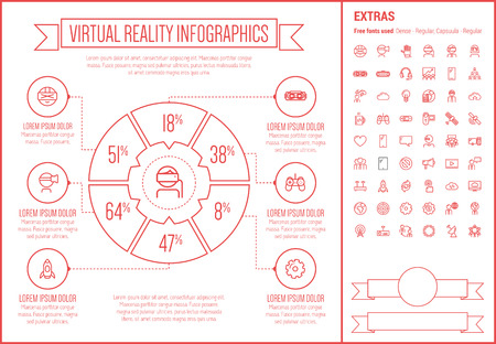 intertainment: Virtual Reality infographic template and elements. The template includes the following set of icons - Virtual reality headset, gaming, robotic hand, and more. Modern minimalistic flat thin line vector design. Beige background with red line elements.