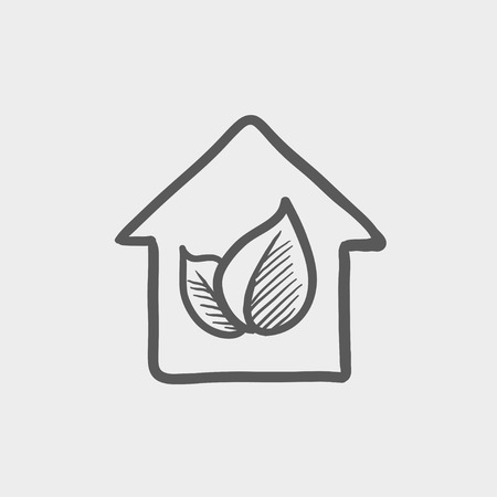 natural arch: Leaf house sketch icon for web and mobile. Hand drawn vector dark grey icon on light grey background.
