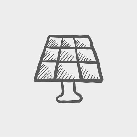 Lamp schets pictogram voor web en mobiel. Hand getrokken vector donkergrijs pictogram op lichtgrijze achtergrond. Stock Illustratie