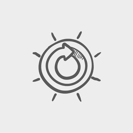 grey: Sun with spiral arrow sketch icon for web and mobile. Hand drawn vector dark grey icon on light grey background.