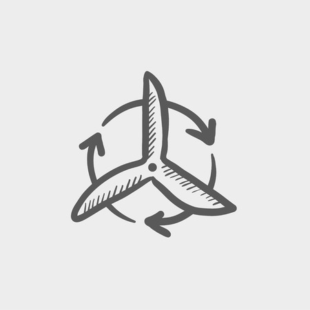 spinning windmill: Windmill with arrow sketch icon for web and mobile. Hand drawn vector dark grey icon on light grey background. Illustration