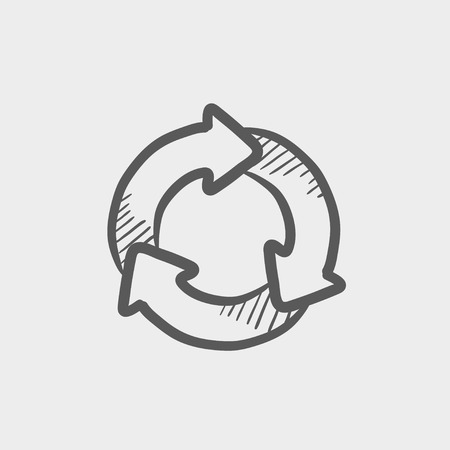 arrows circle: Arrow circle sketch icon for web and mobile. Hand drawn vector dark grey icon on light grey background. Illustration