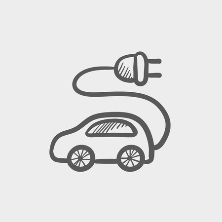 plugin: Electric car sketch icon for web and mobile. Hand drawn vector dark grey icon on light grey background.