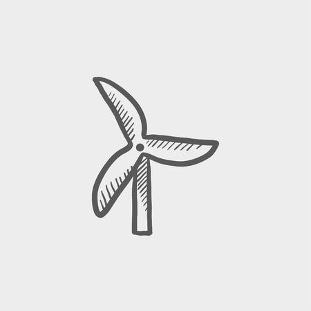 windfarm: Icona Windmill schizzo per web e mobile. Mano tratte vettore grigio scuro icona su sfondo grigio chiaro.