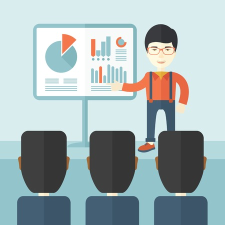 newcomer: A chinese marketing officer show his business plan to his team. Teamwork concept. A contemporary style with pastel palette soft blue tinted background. Vector flat design illustration. Square layout. Illustration