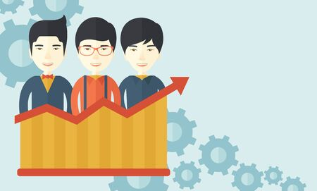 A happy chinese businessmen standing infront of growing graph with gears at their back. Successful business concept. A contemporary style with pastel palette soft blue tinted background. Vector flat design illustration. Horizontal layout with text space i Çizim