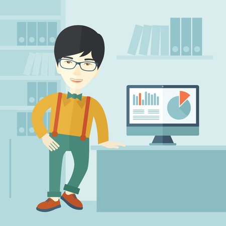 asian business: An asian guy standing  while presenting a graph in business from his computer inside his office. Leadership concept. A contemporary style with pastel palette soft blue tinted background. Vector flat design illustration. Square layout.