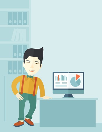 asian business: An asian guy standing  while presenting a graph in business from his computer inside his office. Leadership concept. A contemporary style with pastel palette soft blue tinted background. Vector flat design illustration. Vertical layout with text space on  Illustration