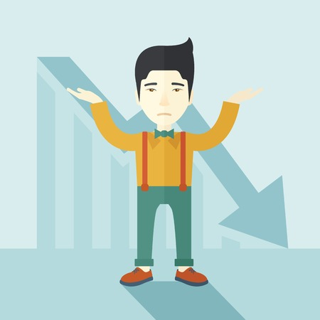 surrendering: A sad asian guy raising his two arms surrendering causing of his failed business. Graph arrow down, shares fall. Unsuccessful business concept. A contemporary style with pastel palette soft blue tinted background. Vector flat design illustration. Square l