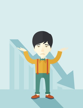 asian business: A sad asian guy raising his two arms surrendering causing of his failed business. Graph arrow down, shares fall. Unsuccessful business concept. A contemporary style with pastel palette soft blue tinted background. Vector flat design illustration. Vertical
