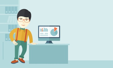 guy standing: An asian guy standing  while presenting a graph in business from his computer inside his office. Leadership concept. A contemporary style with pastel palette soft blue tinted background. Vector flat design illustration. Horizontal layout in right side. Illustration
