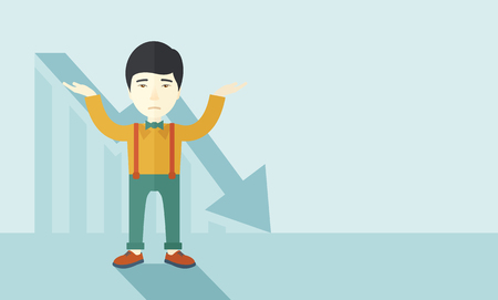 asian business: A sad asian guy raising his two arms surrendering causing of his failed business. Graph arrow down, shares fall. Unsuccessful business concept. A contemporary style with pastel palette soft blue tinted background. Vector flat design illustration. Horizont Illustration