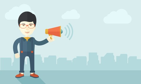 desaturated: A businessman in the field holding a megaphone use to communicate with his employee. A contemporary style with pastel palette soft blue tinted background with desaturated clouds. Vector flat design illustration. Horizontal layout. Illustration