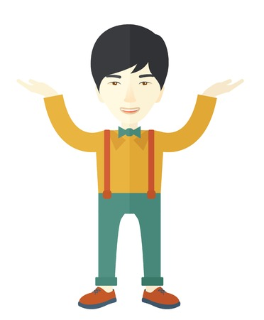 outstretched: A sad young buisnessman raising his two arms shows that he is failed in business. A Contemporary style. Vector flat design illustration isolated white background. Vertical layout. Illustration