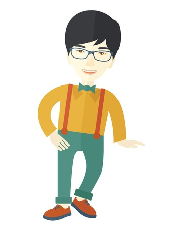 supervisor: A Portrait of confident asian supervisor. A Contemporary style. Vector flat design illustration isolated white background. Vertical layout