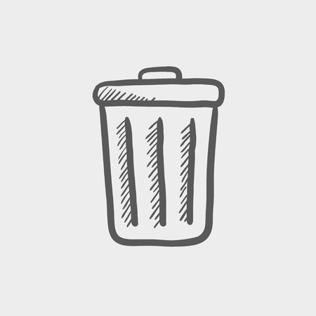 Trash can sketch icon for web and mobile. Hand drawn vector dark grey icon on light grey background. Illustration