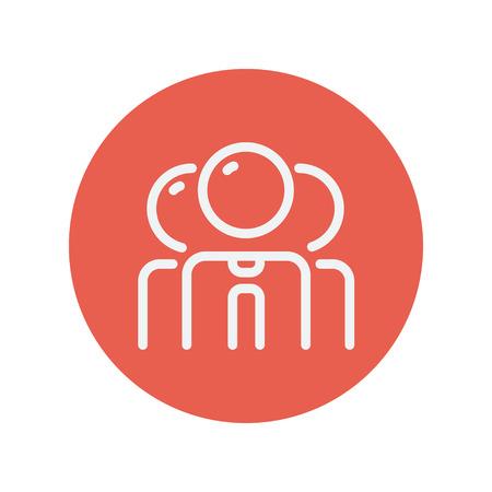 alkalmasság: Csoport üzletember vékony vonal ikon web és mobil minimalista lapos design. Vektor fehér ikon belsejében a piros kör. Illusztráció