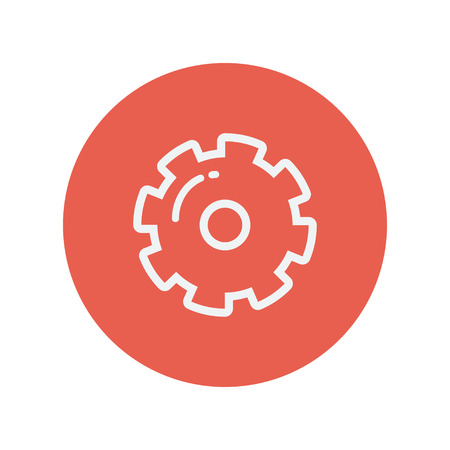 rackwheel: Gear thin line icon for web and mobile minimalistic flat design. Vector white icon inside the red circle.