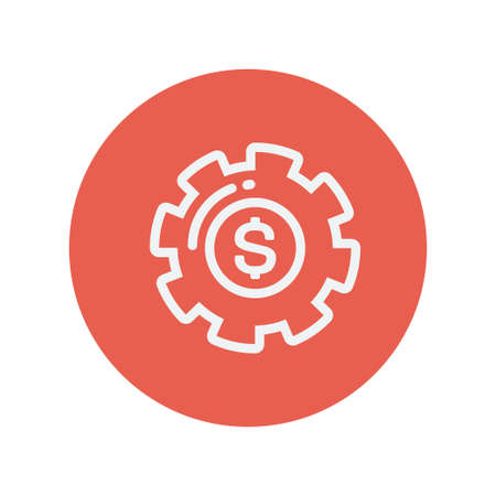 Money gear thin line icon for web and mobile minimalistic flat design. Vector white icon inside the red circle. Ilustração