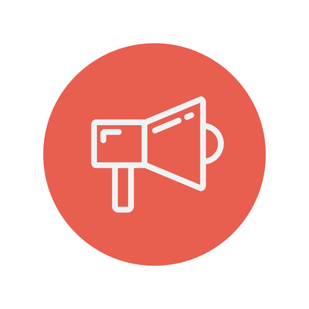 Megaphone thin line icon for web and mobile minimalistic flat design. Vector white icon inside the red circle.