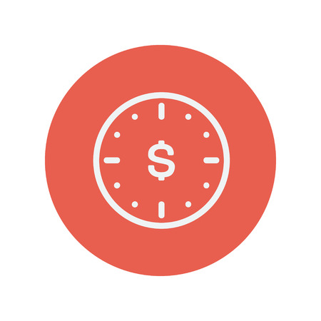Business flat thin line icon for web and mobile minimalistic flat design. Vector white icon inside the red circle. Иллюстрация