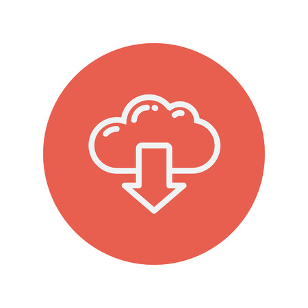 downloading content: Cloud with arrow down thin line icon for web and mobile minimalistic flat design. Vector white icon inside the red circle.