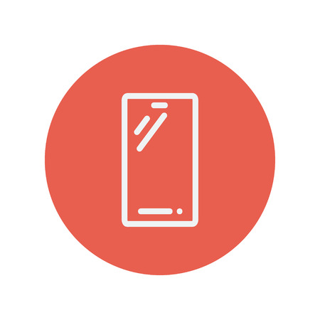 cellphone icon: Cellphone thin line icon for web and mobile minimalistic flat design. Vector white icon inside the red circle.