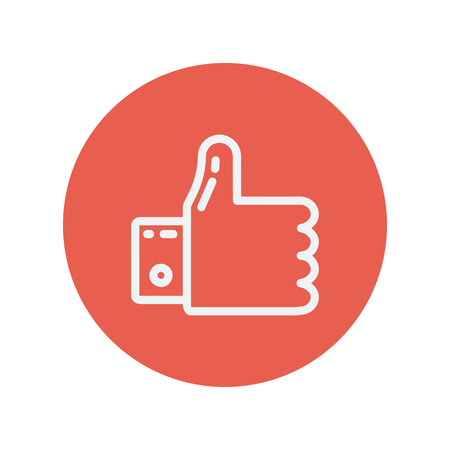 confirmed: Thumbs up thin line icon for web and mobile minimalistic flat design. Vector white icon inside the red circle.