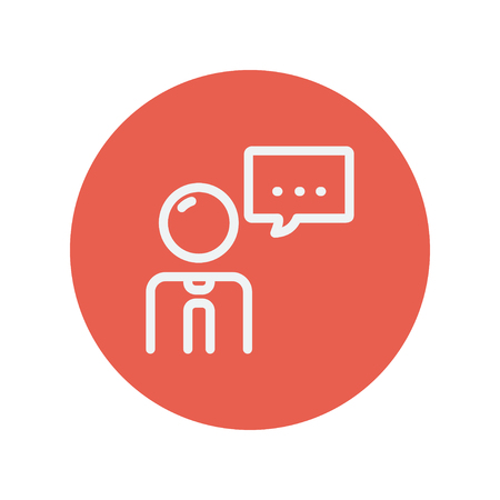 conversing: Man with speech bubble thin line icon for web and mobile minimalistic flat design. Vector white icon inside the red circle.