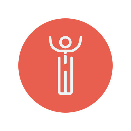 tough man: Winner thin line icon for web and mobile minimalistic flat design. Vector white icon inside the red circle. Illustration