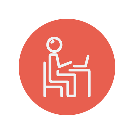 Young man and laptop thin line icon for web and mobile minimalistic flat design. Vector white icon inside the red circle. Illustration