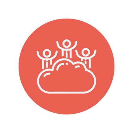 Three men on a cloud thin line icon for web and mobile minimalistic flat design. Vector white icon inside the red circle. Illusztráció