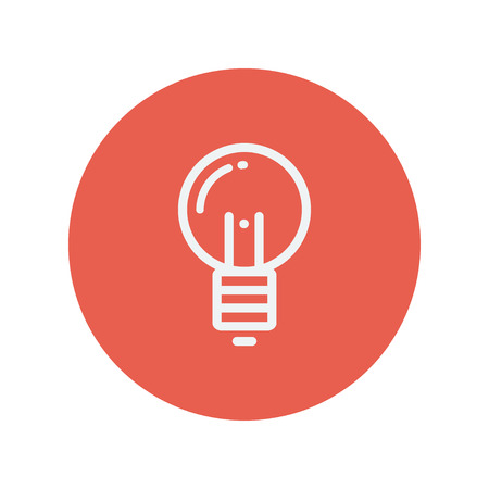 scriibble: Light bulb thin line icon for web and mobile minimalistic flat design. Vector white icon inside the red circle.
