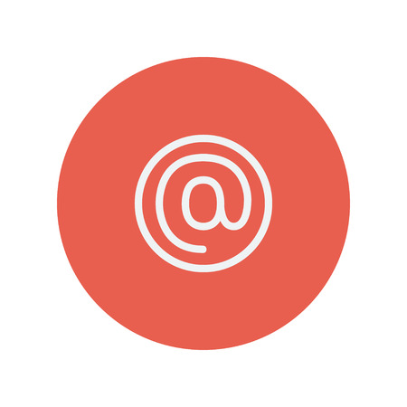 email icon: E-mail internet thin line icon for web and mobile minimalistic flat design. Vector white icon inside the red circle.