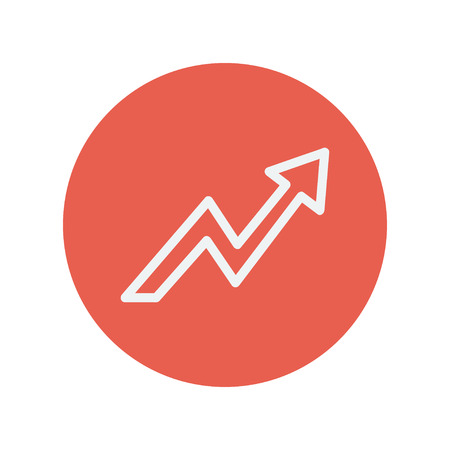 lightning arrow: Lightning arrow upward thin line icon for web and mobile minimalistic flat design. Vector white icon inside the red circle. Illustration