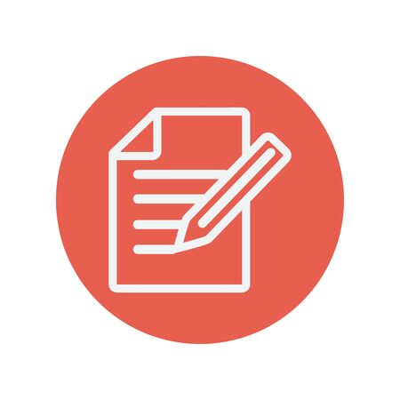 taking notes: Taking note thin line icon for web and mobile minimalistic flat design. Vector white icon inside the red circle.