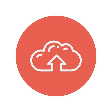 minimalistic: Cloud upload thin line icon for web and mobile minimalistic flat design. Vector white icon inside the red circle.