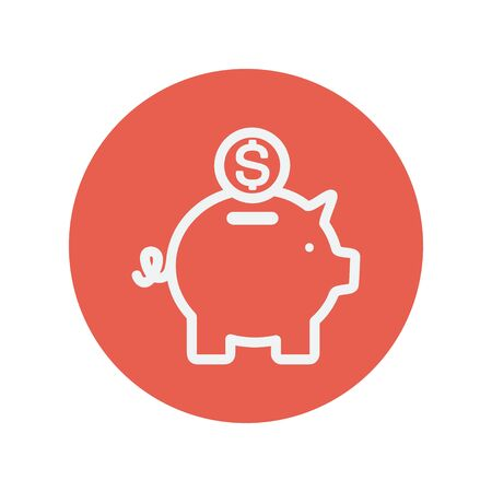 savings account: Piggy bank and dollar coin thin line icon for web and mobile minimalistic flat design. Vector white icon inside the red circle.