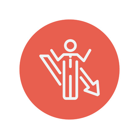 dangerous man: Man with arrow down thin line icon for web and mobile minimalistic flat design. Vector white icon inside the red circle. Illustration
