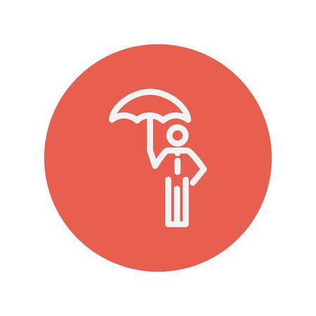 walk away: Man with umbrella thin line icon for web and mobile minimalistic flat design. Vector white icon inside the red circle.