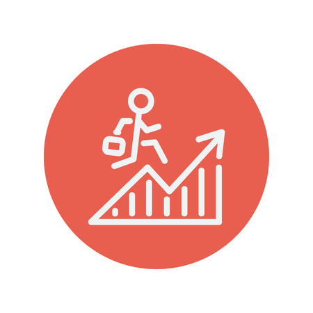 minimalistic: Financial recovery thin line icon for web and mobile minimalistic flat design. Vector white icon inside the red circle. Illustration