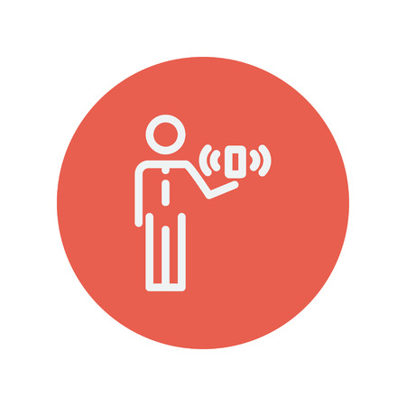 wireless signal: Man and wireless signal thin line icon for web and mobile minimalistic flat design. Vector white icon inside the red circle.