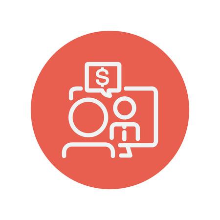business discussion: Discusi�n del asunto icono de l�nea delgada para web y dise�o plano m�vil minimalista. Vector icono blanco dentro del c�rculo rojo.