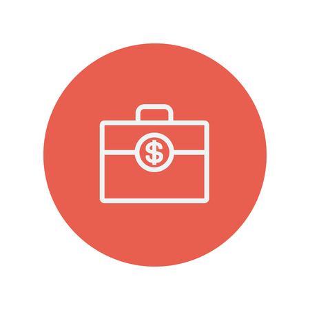 office theft: Money suitcase thin line icon for web and mobile minimalistic flat design. Vector white icon inside the red circle. Illustration
